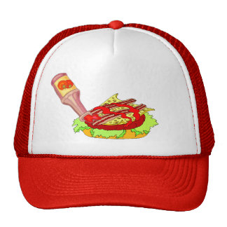 Bacon swiss cheeseburger with ketchup trucker hat