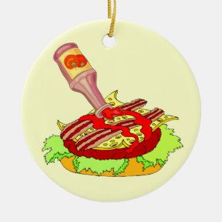 Bacon swiss cheeseburger with ketchup christmas tree ornaments