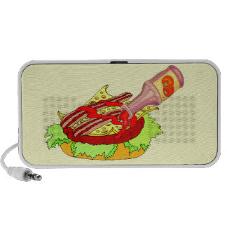 Bacon swiss cheeseburger with ketchup portable speakers