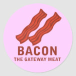 Bacon, The Gateway Meat Classic Round Sticker