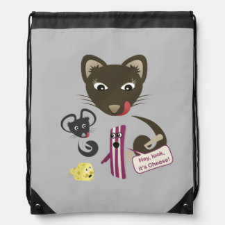 Bacon Unites Friends and Foes Drawstring Backpack