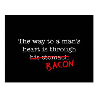 Bacon Way to a Man's Heart Postcard