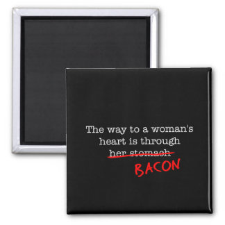 Bacon Woman's Heart 2 Inch Square Magnet