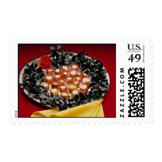 Bacon-wrapped seafood hors d'oeuvres postage stamp