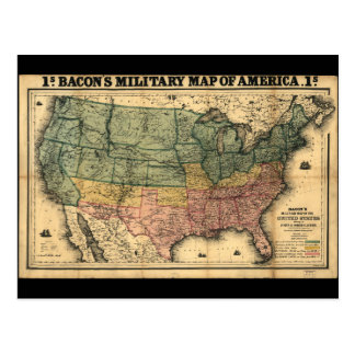Bacon's Military Map of the United States (1862) Postcard