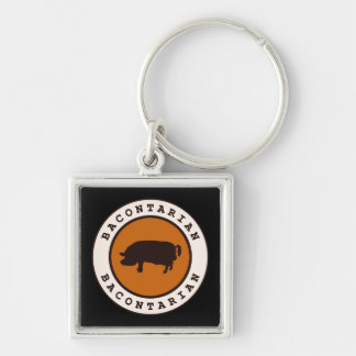 Bacontarian Silver-Colored Square Keychain