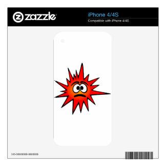 bacteria-156871 bacteria virus sad red CARTOON FUN iPhone 4 Skin