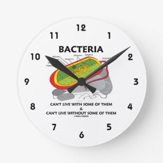 Bacteria Can't Live With Some Of Them & Can't Live Round Wall Clock