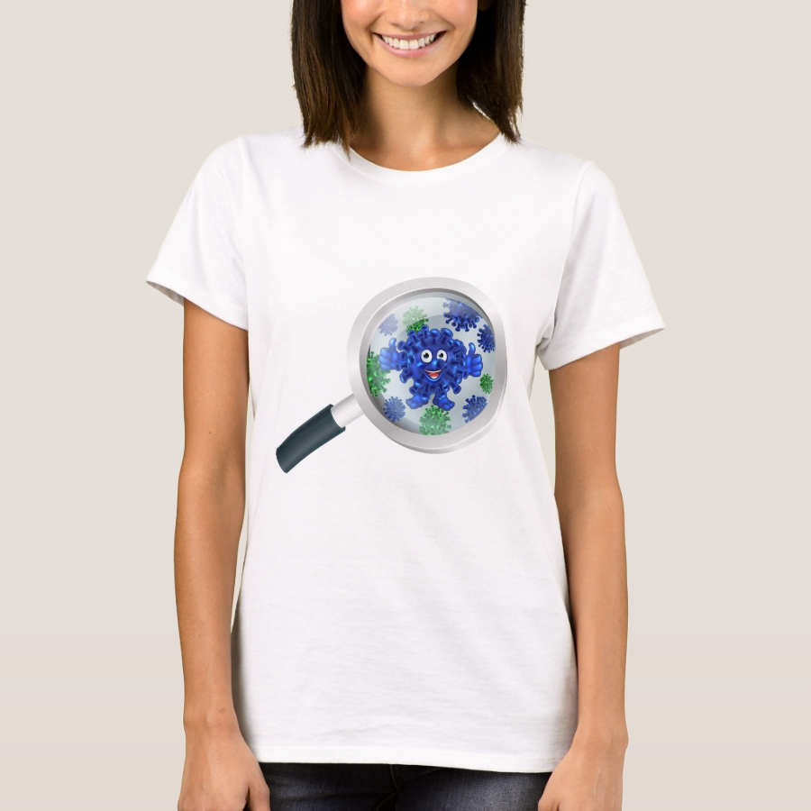 Bacteria Cartoon Mascot Under Magnifying Glass T-Shirt - Best Selling Long-Sleeve Street Fashion Shirt Designs