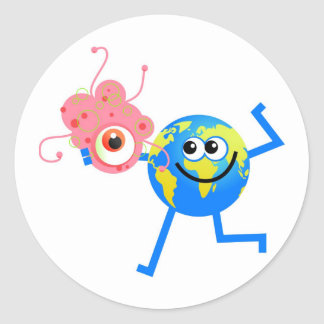 Bacteria Globe Classic Round Sticker