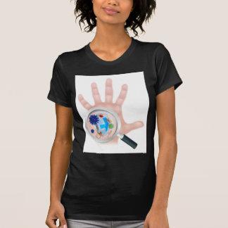 Bacteria Virus Magnifying Glass Hand Shield T-Shirt
