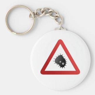 Bacteria Warning Sign Keychain