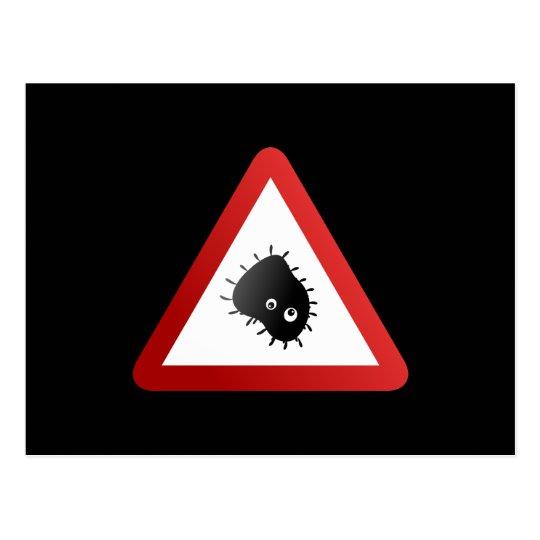 Bacteria Warning Sign Postcard