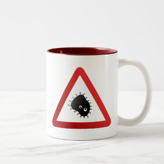 Bacteria Warning Sign Two-Tone Coffee Mug