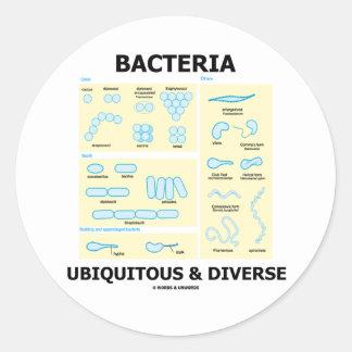 Bacterias ubicuas y diversas (formas y tamaños) pegatina redonda