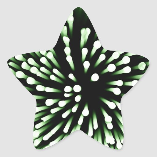 Bacterias verdes magnificadas pegatina en forma de estrella