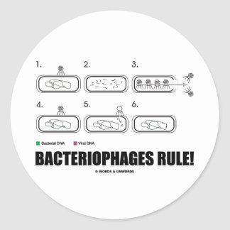 Bacteriophages Rule! (Bacteria Virus DNA) Classic Round Sticker