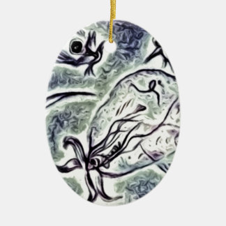 Bacterium Double-Sided Oval Ceramic Christmas Ornament