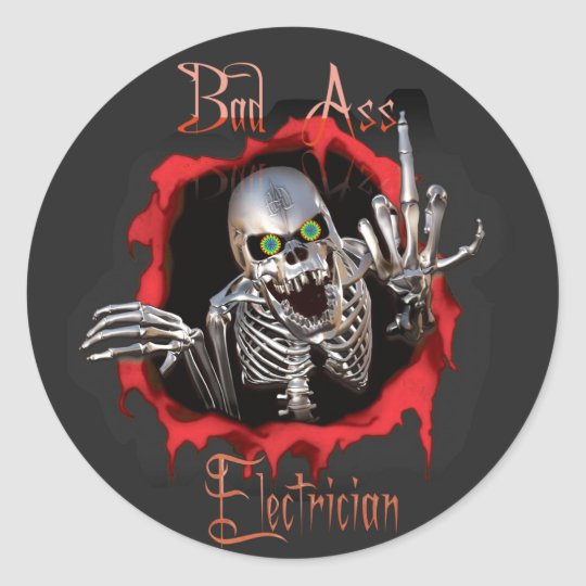 Bad As Electrician Skull Sticker  Zazzlem. Valentines Lettering. Blue Neighbourhood Lettering. Visibility Signs Of Stroke. Redline Decals. Roofing Banners. Kids Birthday Banner. Ford Fiesta Decals. Poster Printing Sale