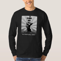 Bad-Ass Bunny with Rifle Long Sleeve Black T-Shirt