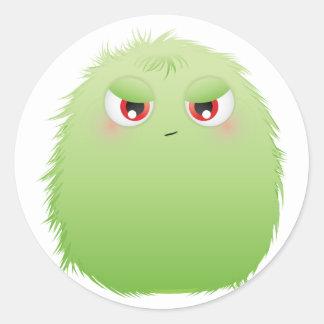 Bad Attitude Furry Monster Round Sticker