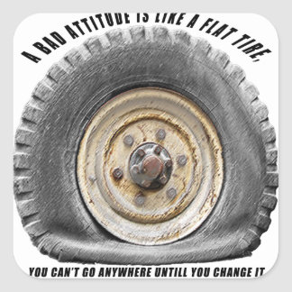 Bad Attitude Like Flat Tire Stickers