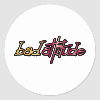 Bad Attitude - Pop Fashion Slogan Icon Round Stickers