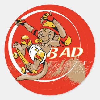 Bad Baby Skateboard Monkey Classic Round Sticker