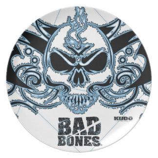 Bad Bones Burnt Winged Skull  (Blue) Plates