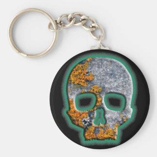 """""""Bad Boy"""" Skull with Orange Lichen on Granite Basic Round Button Keychain"""