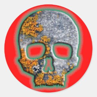 """""""Bad Boy"""" Skull with Orange Lichen on Granite Classic Round Sticker"""