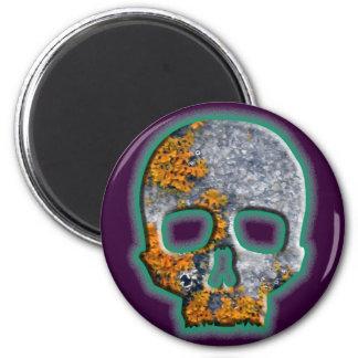 """""""Bad Boy"""" Skull with Orange Lichen on Granite Refrigerator Magnets"""