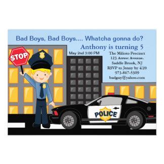 Bad Boys, Bad Boys Policeman Birthday Invitation