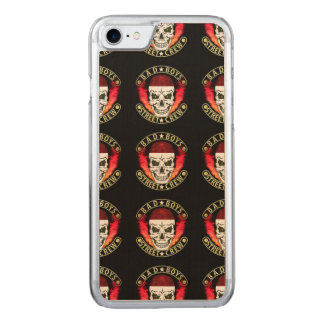 Bad Boys Street Crew Bandana Skull Black & Gold Carved iPhone 8/7 Case