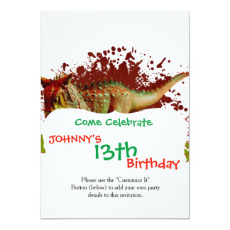 Bad Carnotaurus Splashing Blood Green and Red 5x7 Paper Invitation Card