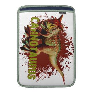 Bad Carnotaurus Splashing Blood Green and Red MacBook Sleeves