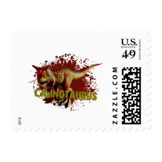 Bad Carnotaurus Splashing Blood Green and Red Postage