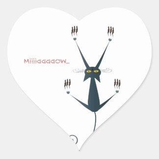 bad cat design heart sticker