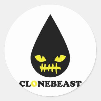 bad clonebeast smile classic round sticker