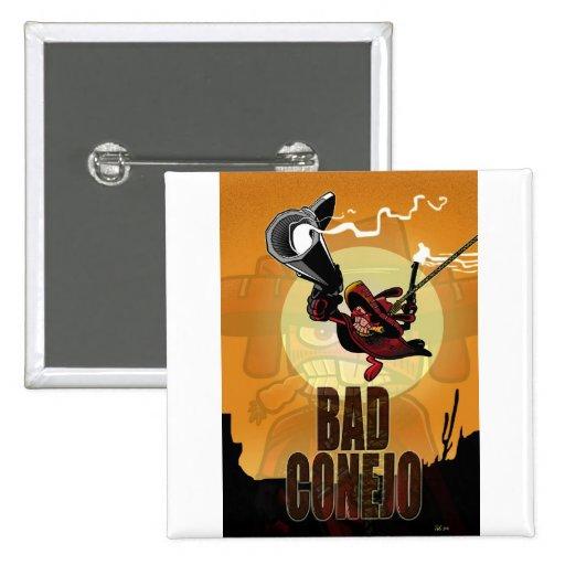 Bad Conejo 2 Inch Square Button