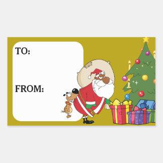 Bad Dog Bites Black Santa Gift Tag Sticker