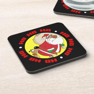 Bad Dog Bites Black Santa on the Butt Beverage Coaster