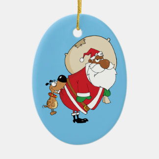 Bad Dog Bites Black Santa on the Butt Ceramic Ornament