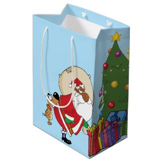 Bad Dog Bites Black Santa on the Butt Medium Gift Bag