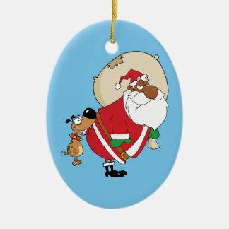 Bad Dog Bites Black Santa on the Butt Double-Sided Oval Ceramic Christmas Ornament