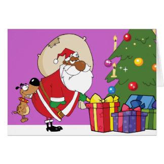 Bad Dog Bites Black Santa on the Butt Greeting Card