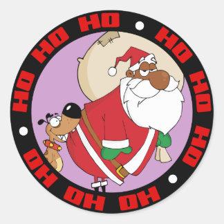 Bad Dog Bites Black Santa on the Butt Stickers