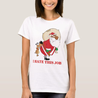 Bad Dog Bites Black Santa on the Butt T-Shirt