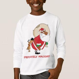 Bad Dog Bites Black Santa on the Butt T Shirt