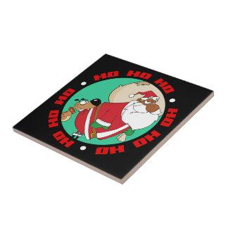 Bad Dog Bites Black Santa on the Butt Ceramic Tiles